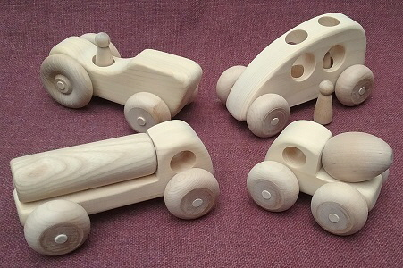 Wooden Toy Cars Trucks Tractors Tank Truck